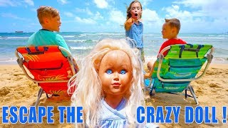Escape the Crazy Doll! Sneak Attack Nerf Adventure Showdown in Hawaii! The Sneaky Doll Returns!