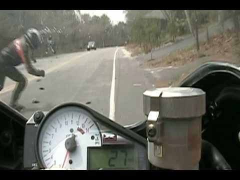Five person motorcycle wheelie ride  .