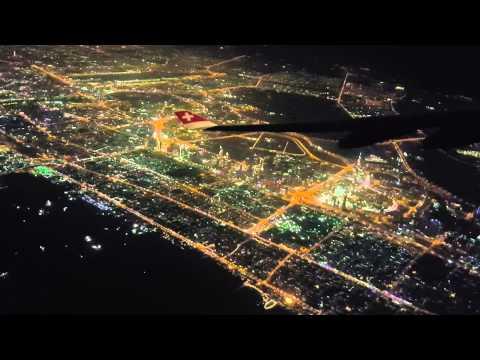 Dubai from the sky at night - Swiss Air