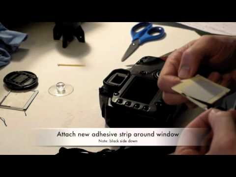 Replacing a scratched LCD cover on a Canon EOS 5D SLR