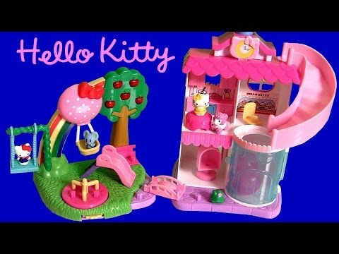Squinkies Hello Kitty Town Dispenser Playset with Swing Slide Roundabout Playground Bakery Shop