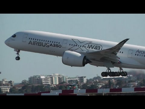Airbus A350 Take Off & Missed Approach at Sydney Airport
