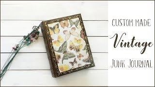 Handmade Vintage Junk Journal | Custom made | Hand-painted | Rosy Journal