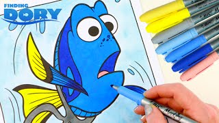 FINDING DORY Coloring Book Speed Coloring With Markers and Watercolor Paint