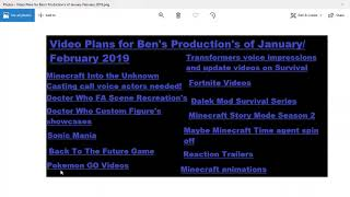 Video Plans for Bens Productions of January February 2019