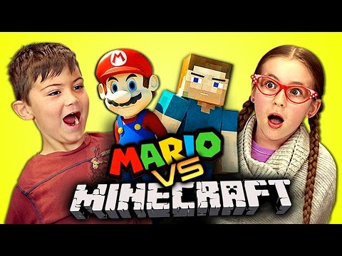 KIDS REACT TO MARIO VS MINECRAFT