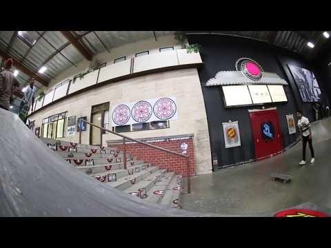 DEON HARRIS: BACK FOOT LATE FLIP BOARDSLIDE ON THE BERRICS 10 RAIL