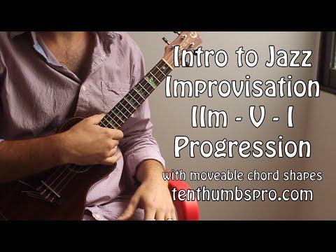 Intro to Jazz Ukulele Tutorial - IIm-V-I Chord Progression w/moveable shapes for all keys