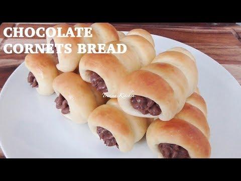 CHOCOLATE CORNET BREAD Recipe | Resep Roti Manis Isi Vla Coklat | Trivina Kitchen