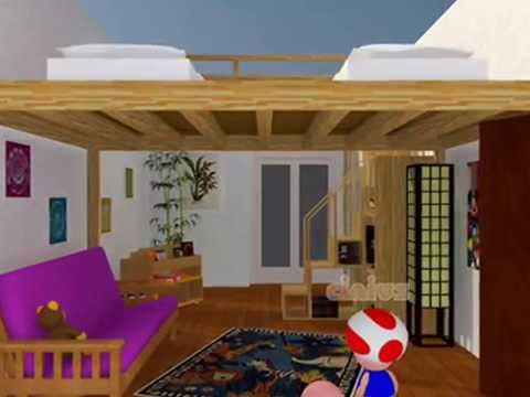 Lit mezzanine lit escamotable youtube for Mezzanine 2 places bois