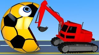 Learn Colors with PACMAN and Farm Soccer Ball Excavator Street Vehicle for Children Kids
