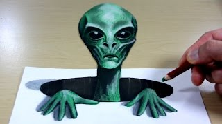 3D Trick Art on Paper   Alien