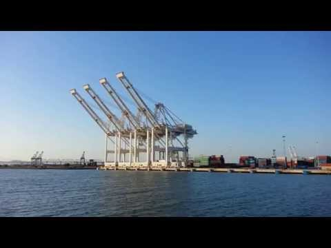 Ferry Ride View. Container Ship x 1. Shipping Container Cranes. Port of Oakland, CA.