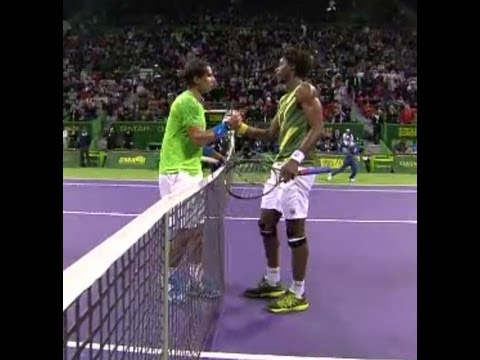 Qatar ExxonMobil Open from Doha. An ATP 250 Tournament. The quarterfinal matchup between Spaniard Rafael Nadal and Frenchman Gael Monfils.
