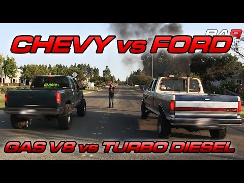 '97 GMC Sierra 5.7 vs Ford F350 IDI Turbo Diesel