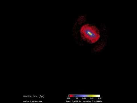 Galaxy Collision Model (Showing Stellar Density) [720p]