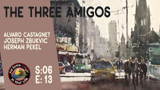 Joseph Zbukvic, Herman Pekel, Alvaro Castagnet water colour street scene