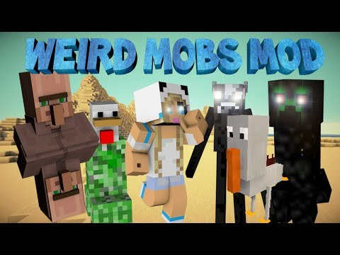 Minecraft: WEIRD MOBS MOD Two Head Villagers Black Creepers and more