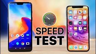 OnePlus 6 vs iPhone X Speed Test!