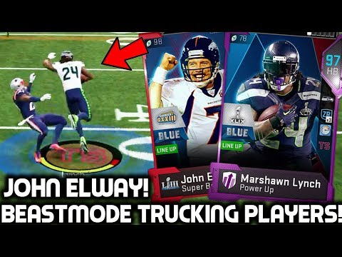 SUPER BOWL MARSHAWN LYNCH TRUCKING PLAYERS! John Elway! Madden 19 Ultimate Team