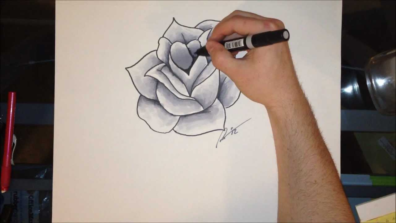 How To Draw A Rose Shading With Markers Youtube