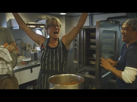 Emma Thompson cooks for the crew of the Greenpeace Esperanza