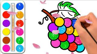Glitter Grapes Drawing and Coloring for Kids l Coloring pages  and learn colors for kids