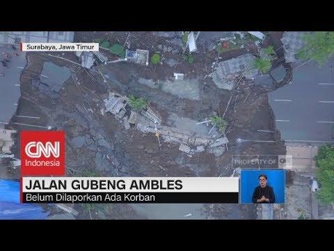 Penampakan Jalan Gubeng Surabaya Ambles dari Udara