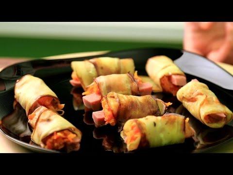 Овощная закуска из рулетиков с баклажанами