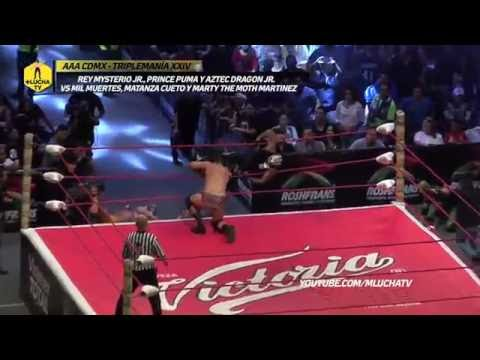 Rey Mysterio Jr., Prince Puma y Aztec Dragon vs Mil Muertes, Matanza y Marty Martínez