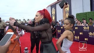 Liza Koshy and Justina Valentine Freestyle on MTV Movie Awards Carpet