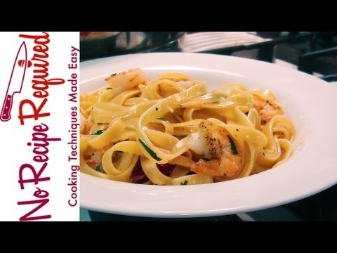 Shrimp Pasta (Fettucini) with Tarragon – Pasta Recipes by NoRecipeRequired