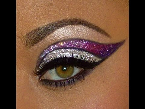easy dramatic glitter eye makeup  youtube