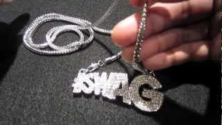 Iced out silver instagram hashtag swag champ pendant chain fabolous soulja boy | hip hop jewelry