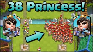38 PRINCESSES! New World Record! Clash Royale - Most Princess on Map (Mass Gameplay)