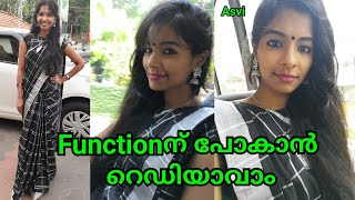 Get Ready With Me for function|Saree & Silver jewellery Makeup look|Dusky skin|Asvi Malayalam
