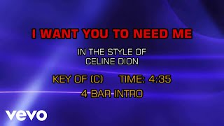 Céline Dion - I Want You To Need Me (Karaoke)