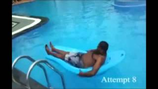 Funny fail over and over in the pool.