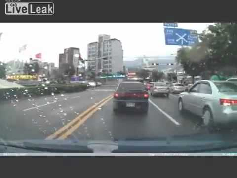 Kid falls out of car while driving   Dashcam vid