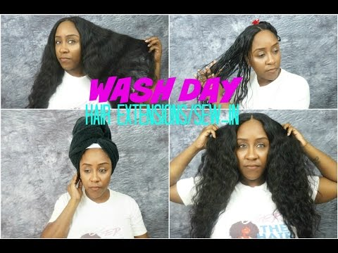 How To Wash Your Hair Extensions & Sew-In Easily   Sugar Hair