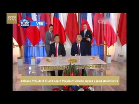 17505 politics Welt CCTV News V观Chinese President Xi and Czech President Zeman sign a joint sta