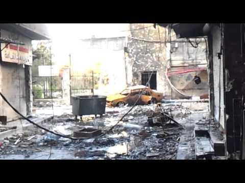 اشتباكات عنيفة عند مبنى البلدية بمخيم اليرموك 17-2-2013