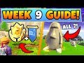 Fortnite WEEK 9 CHALLENGES GUIDE! – STONE HEADS Locations, Treasure MAP (Battle Royale Season 5)