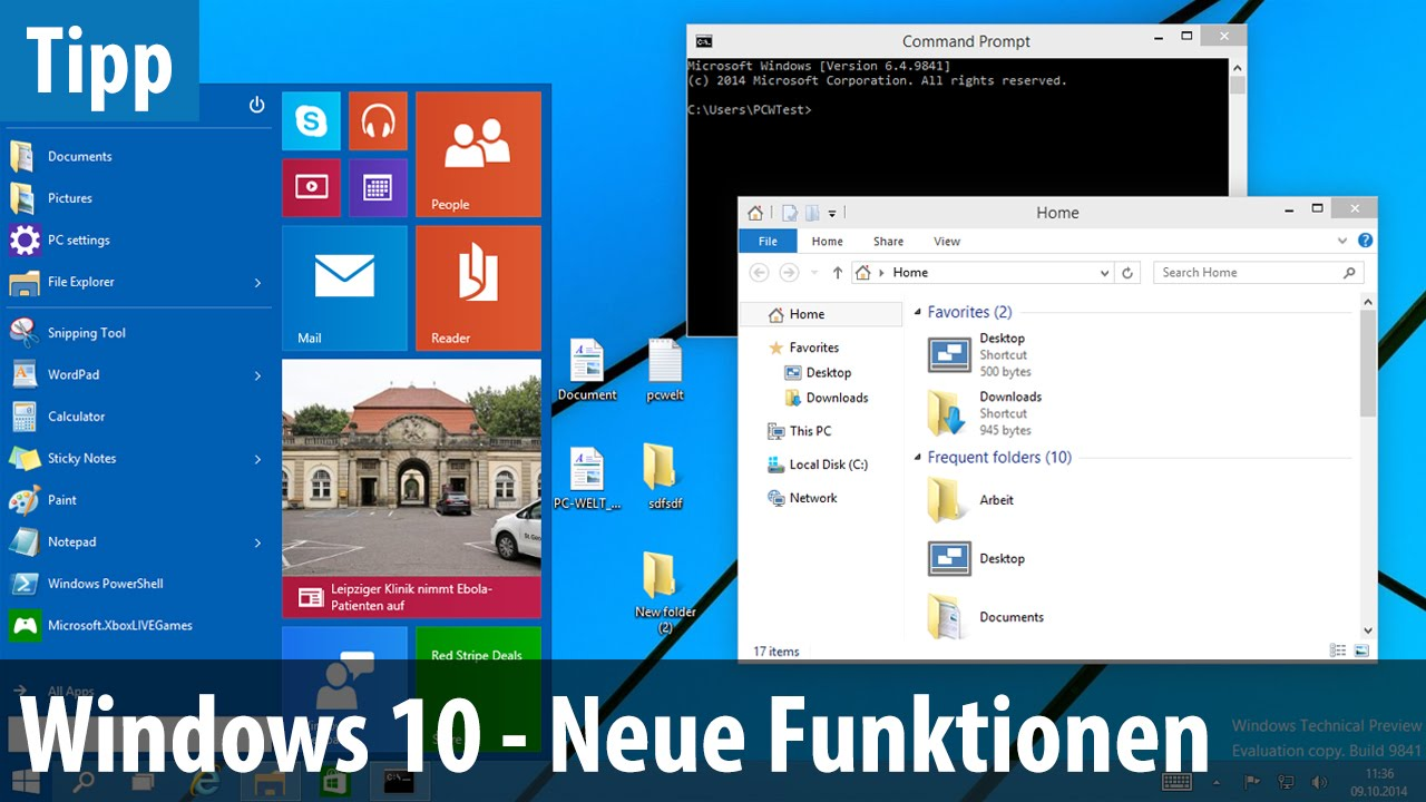 Windows 10 tp neue funktionen im test deutsch german for Window in german