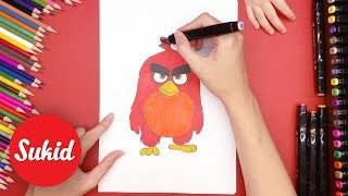 Guide the baby to paint and color the birds Angry Birds, learn colors through the drawing #SuKid