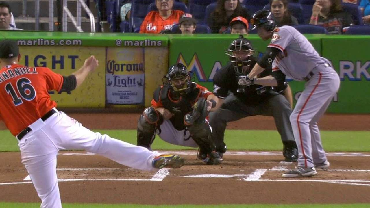 SF@MIA: Fernandez dials it up for first K of season
