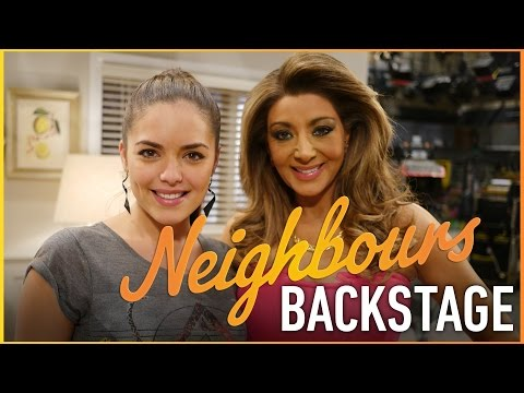 Neighbours Backstage - Olympia Valance (Paige Smith) and Gina Liano (Mary Smith)