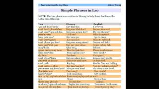 Simple phrases in Lao, Hmong and English