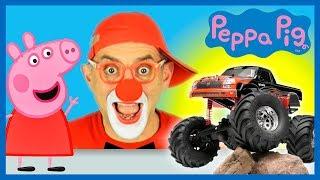 Monster Truck Car wash Video for Kids | Peppa Pig & Funny Clown | Construction Vehicles Car Cartoon