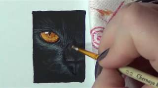Рисунок акварелью/кошкин глаз/Painting the nails from Anna Kuzubova , cat in watercolor